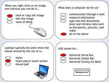 Technology Review Task Cards / Quiz for Grades 1 - 4