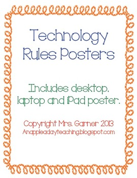 Technology Rule Posters - iPad, Laptop, Desktop Computer - Will Customize!