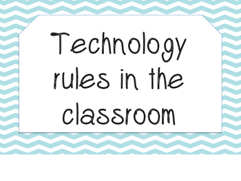Technology Rule posters for the Classroom (aqua Chevron)