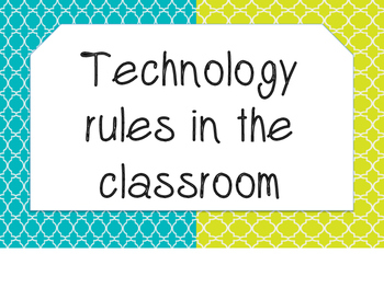 Technology Rule posters for the Classroom (aqua and yellow)