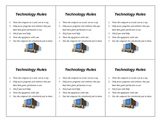 Technology Rules Cards to Post on Computers in Your Classroom