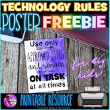 Technology Rules Poster for Secondary School - FREEBIE