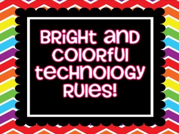 Technology Rules on Bright Rainbow Chevron Paper