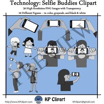 Technology Selfie Buddies Clipart