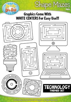 Technology Shaped Mazes Clipart {Zip-A-Dee-Doo-Dah Designs}