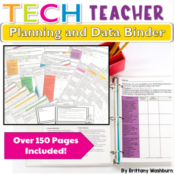 I've been working so hard on creating a product that will help technology teacher accomplish all of their required paperwork in an organized and efficient way. Introducing: the Technology Teacher Planning and Assessment Binder