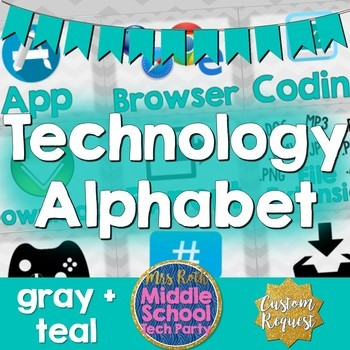 Technology Terms Alphabet Posters- Gray Chevron + Teal
