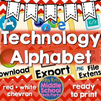 Technology Terms Alphabet Posters- Red Chevron