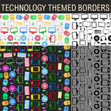 Technology Theme - 14 Technology Themed Borders, Frames, Clip Art