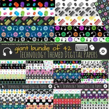 Technology Theme Digital Paper - Giant Bundle - 42 Papers