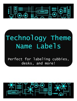 Technology Theme Name Labels - Editable!