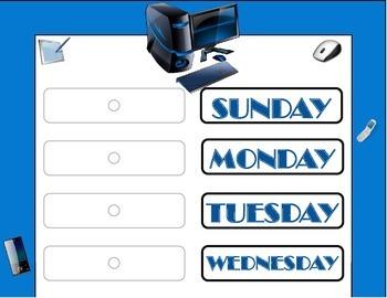 Technology Theme Weekday Chart! Technology Bulletin Board! Computer Classroom!