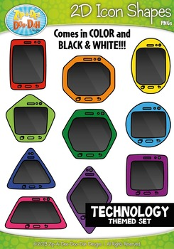 Technology Themed 2D Icon Shapes Clipart Set — Includes 20