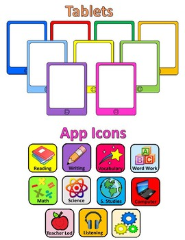 Tablets, Apps, & Emojis - Technology Themed - Centers and Helpers