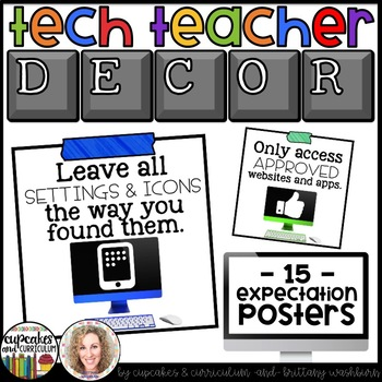 Technology Themed Decor Classroom Expectations Posters