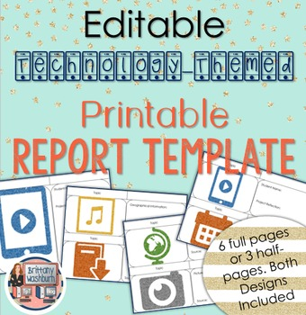 Technology Themed Editable Research Report Template
