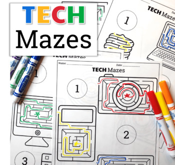 Technology Themed Maze Worksheets