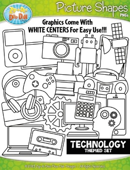 Technology Themed Picture Shapes Clipart Set — Includes 20