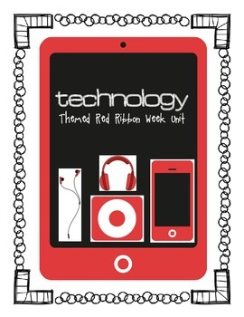 Technology Themed Red Ribbon Week Posters & Activities (iphone, ipad, ipod)