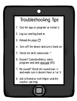 Technology Tip Posters to help student troubleshoot independently FREEBIE