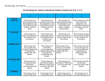Technology Tool Evaluation Rubric
