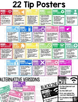 Technology Troubleshooting Posters, Checklists, Bulletin Board Set: EDITABLE