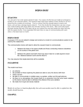 Technology Unit: Space Design Brief