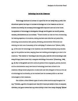 Technology Use in the Classroom Research Paper