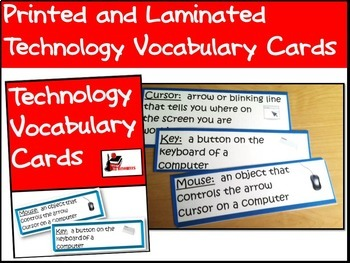 Technology Vocabulary Cards - Printed, Laminated & Shipped