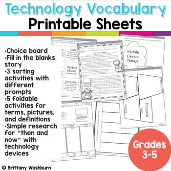 Technology Vocabulary Worksheets 3-5