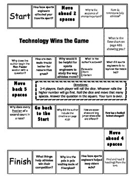 """Technology Wins the Game"" Comprehension Game Board- Journeys story 3rd grade"