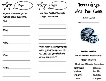 Technology Wins the Game Trifold - Journeys 3rd Gr U 3 Week 1 (2014, 2017)