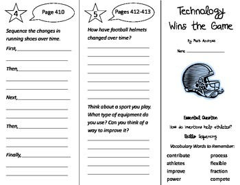 Technology Wins the Game Trifold - Journeys 3rd Gr U 3 Wee