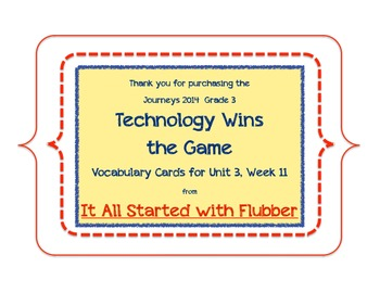 Technology Wins the Game, Vocabulary Cards, Unit 3 Lesson 11, Journeys 3rd Grade