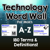 Technology Word Wall / Terms & Definitions for Macs. A-Z - Over 180 Terms