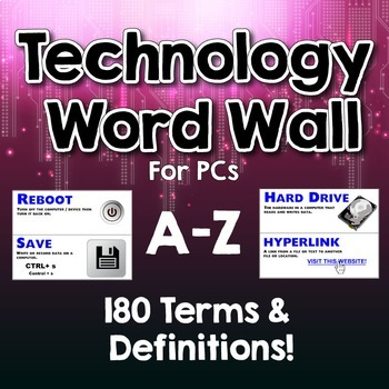 Technology Word Wall / Terms & Definitions for PCs. A-Z -