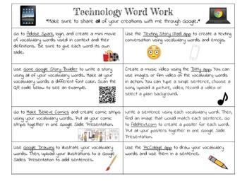 Technology Word Work Choice Board