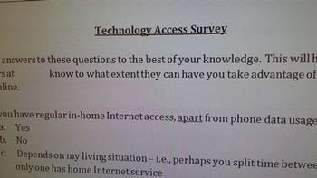 Technology access survey
