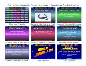 Technology and Gadgets Spanish Jeopardy Game