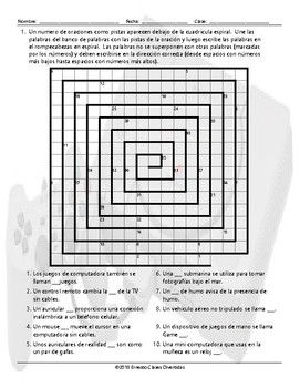 Technology and Gadgets Word Spiral Spanish Worksheet
