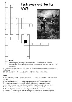 Technology and Tactics Cross Word  - World War One