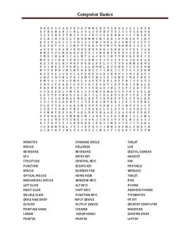 Technology basics Word Search