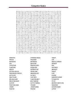 Technology basics Word Search