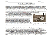 Technology of World War I Primary & Secondary Source Assignment