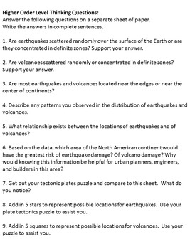 Tectonic Plates Plotting Activity: Earthquakes and Volcanoes