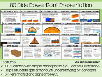 Tectonic Plates PowerPoint, Notes and Exam (Differentiated and Editable)