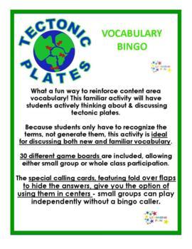 Tectonic Plates Vocabulary Bingo