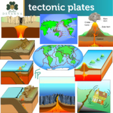 Tectonic Plates - Volcanoes and Earthquakes Clip Art