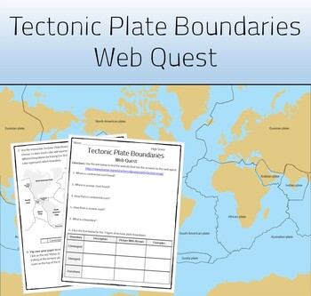Tectonic Plates Web Quest Worksheet