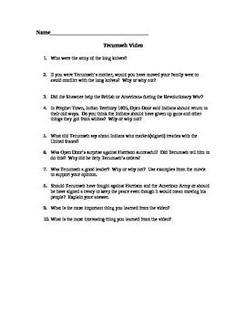 Tecumseh: The Last Warrior video/questions.